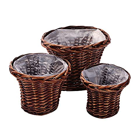 Flower Pot Set of 3, Wicker Woven by Hand,Home Decoration,Kingwillow.(Set of 3, Round Brown)