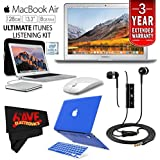 6Ave Apple 13.3 MacBook Air 128GB SSD (MQD32LL/A) + iBenzer Basic Soft-Touch Series Plastic Hard Case & Keyboard Cover Apple MacBook Air 13-inch 13 (Blue) + Apple USB SuperDrive Bundle