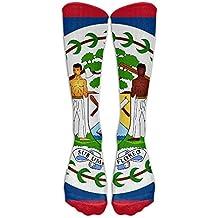 Belize Flag Crew Sock Long Socks Sports Socks For Travel Leisure For Women And Men - Best Travel & Flight Socks - Running & Fitness.
