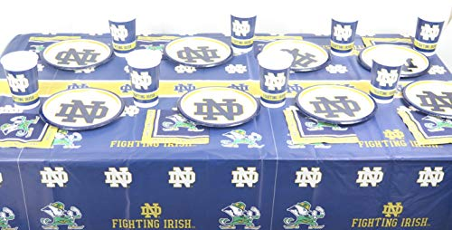Notre Dame Football Graduation Party, 49 Pieces Set, Includes Plates, Napkins, Jumbo Plastic Cups and a Tablecloth -
