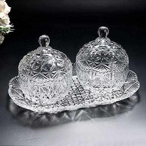 - Glass candy jar three-piece set 8 ounce sugar bowl set and tray/decorative candy dish (1, 2)