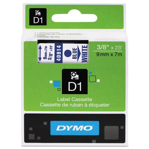 """Genuine DYMO 3/8"""" (9mm) Blue on White D1 Label Tape for Electronic Dymo LabelPoint 250 Label Maker"""