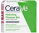 CeraVe Hydrating Cleansing Bar 2 Pack (4.5 oz each) Non Soap Alternative for Daily Body and Facial Washing, Dry to Normal Skin