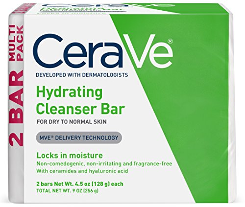CeraVe Hydrating Cleanser Bar | 2 Pack (4.5 Ounce) | Soap-Free Body and Face Cleanser Bar | Fragrance Free and Non-Irritating