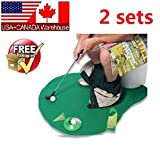 2 sets Golf Toilet Bathroom Mini Golf Mat trainning aid Set Game Novelty gift set