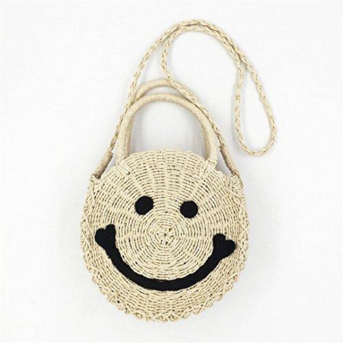 Main Bohemian BandoulièRe Bag à Beach Smile Cuir Bag Beige Sac BandoulièRe à pour Femme à Sac en Tissé FRGYHJK La 8x6nOgTO