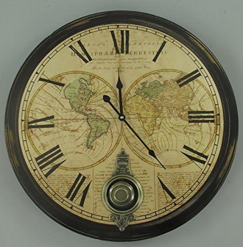 Clever-Deko Grandes XXL–Reloj de Pared con péndulo Colonial Estilo rústico Nostalgie Antiguo 60cm–Reloj de péndulo