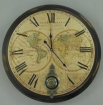 Clever-Deko Grandes XXL - Reloj de Pared con péndulo Colonial Estilo rústico Nostalgie Antiguo 60 cm - Reloj de péndulo: Amazon.es: Hogar