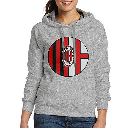 ITMEIAL Women's Milan Ac Football Team Logo Hoodies Ash L -