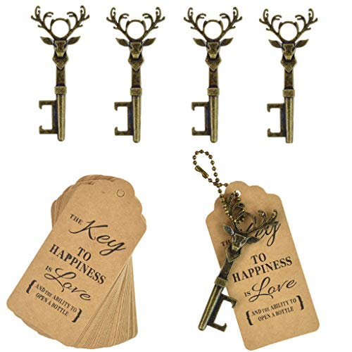 (DerBlue 40 PCS Key Bottle Openers,Vintage Key Bottle Opener, Wedding Favors Key Bottle Opener Rustic Decoration with Escort Tag Card (Bronze))