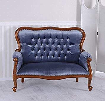 Boudoir Sofa Kanapee Antik Couch Samt Mahagoni Sitzbank Vintage