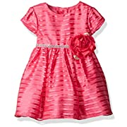 Sweet Heart Rose Little Girls Organza Stripe Special Occasion Dress With Rhinestone, Pink, 18 Months