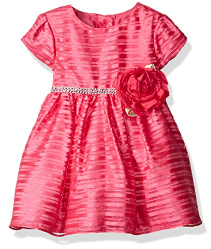 Sweet Heart Rose Little Girls Organza Stripe Special Occasion Dress With Rhinestone, Pink, 18 Months Sweetheart Rose Baby Girl