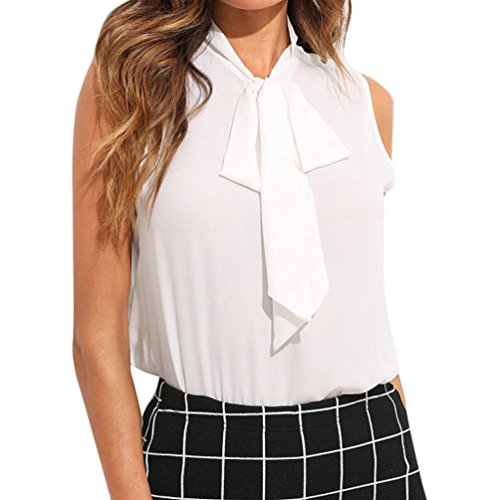 Women's Chiffon Blouse, CieKen Elegant Office Solid Tie Neck Ruffle Armhole Sleeveless Workwear T Shirt Tank Tops (White, (Oxford Sleeveless T-shirt)