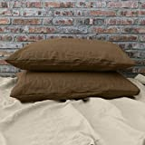 Linenshed Stonewashed Linen Euro Pillow Cases (Set of 2) Earth (26Wx26L)