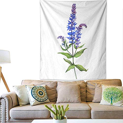 (Tapestry Wall Hanging Branch with flowers of plant sage (also called clary Salvia officinalis) Watercolor hand drawn painting illustration isolated on a white background Tapestry For Bedroom Living R)