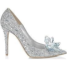 Sothingoodly Pretty Women's Fashion Point-Toe Crystal High Heels Shoes Wedding Stilettos
