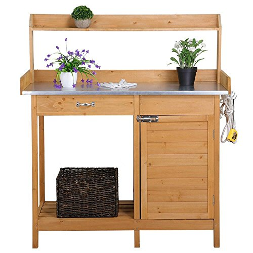Garden Drawer - Yaheetech Outdoor Garden Potting Bench Metal Tabletop W/Cabinet Drawer Open Shelf Natural Wood
