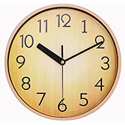 JustNile Home Wall Clock - Silent Retro Round Classic 10 Inch Wood Brown Clock for Office & School