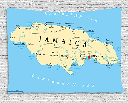 Ambesonne Jamaican Tapestry, Map of Jamaica Kingston Caribbean Sea Important Locations in Country, Wall Hanging for Bedroom Living Room Dorm, 60 W X 40 L Inches, Blue Beige