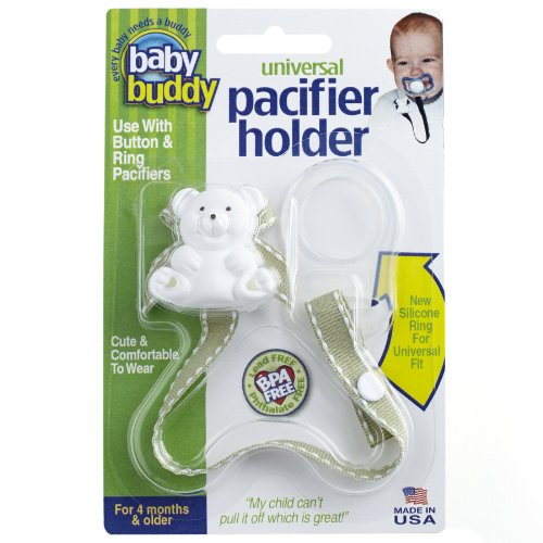 Baby Buddy Universal Pacifier Holder Clip - Snaps to Paci or Attach with Universal-Fit Silicone Ring - Pacifier Clip for Babies 4+ Months/Toddler Boys & Girls, Sage with White Stitch
