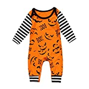 Urkutoba Halloween Boo Jumpsuit for 0-24M Baby Boys Girls-One Piece Long Sleeve Devil Romper Bodysuit Pajamas Coverall Outfit (0-3 Months, Yellow)