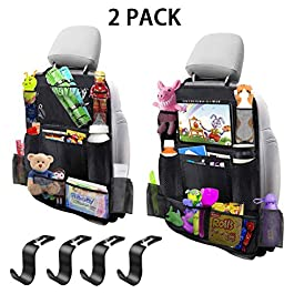 MIBOTE-UK Car Backseat Organizer 2 Pack 11 Storage Pockets Kick Mats Organiser with 10″ Touch Screen Tablet Holder Car Seat Back Protectors with 4 plastic hooks for Kids and Toddlers