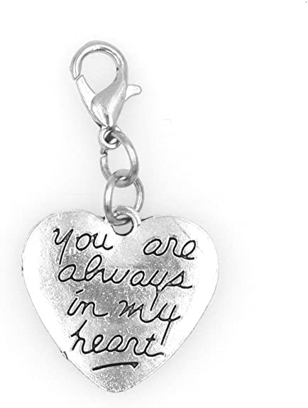 SPARKLY SMALL CLEAR RHINESTONE HEART AND SILVER WINGS CLIP ON CHARM-SILVER ALLOY