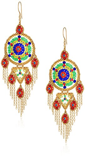 Miguel Ases Large Dreamcatcher Multi-Dangle Fringe Chain Chandelier Drop Earrings (Multi Shape Chandelier Earrings)