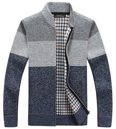 - chouyatou Men's Classic Band Collar Full Zip Color-Block Stripe Cable Knitted Cardigan Sweater Coat (X-Large, Grey)