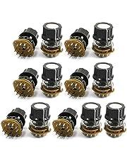 Sourcingmap - 13 pc 9mm hilo 12 terminales de 2 polos selector de conmutador rotatorio de 5 posiciones