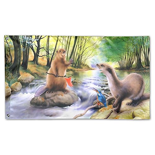 Colby Keats Beaver Say Hellow Garden Lawn Flags Indoor Outdoor Decoration Home Banner Polyester Sports Fan Flags 3 X 5 Foot