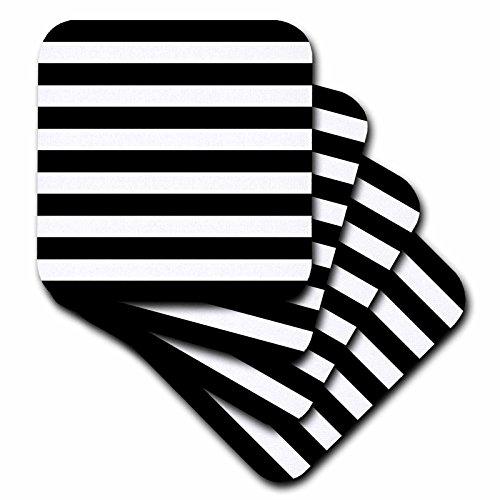 Striped Ceramic (3dRose cst_56663_3 Stylish Contemporary Stripes Black and White Striped Pattern Aka Breton Stripe Ceramic Tile Coasters, Set of 4)