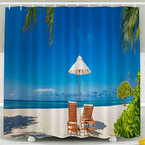 Capsceoll Fabric Shower Curtain, Décor Bathroom Curtain Beautiful Tropical Beach Banner White Sand Coco Palms Chairs As Wide Panorama 72x72 inches with Free Hooks Fabric Bath Shower Curtain