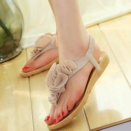 Hot Sandals ! AMA(TM) Women Summer Sweet Flower Bohemia Sandals Flat Clip Toe Beach Shoes (8, Beige)