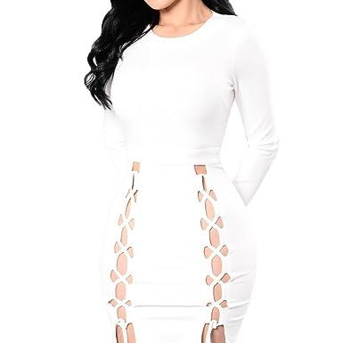 576a0bd7b85 Scothen Robe chasuble robe à fines bretelles robe de soirée sexy manches  longues moulante Mini courtes