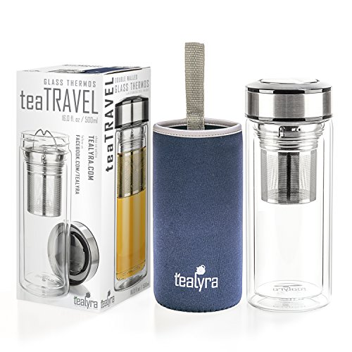 Tealyra - teaTRAVEL 16-Ounce - Glass Double Walled Thermos - Travel Mug with Removable Stainless Steel Infuser Basket - Borosilicate Glass Tea and Coffee Thumbler - Gift Box - 500ml