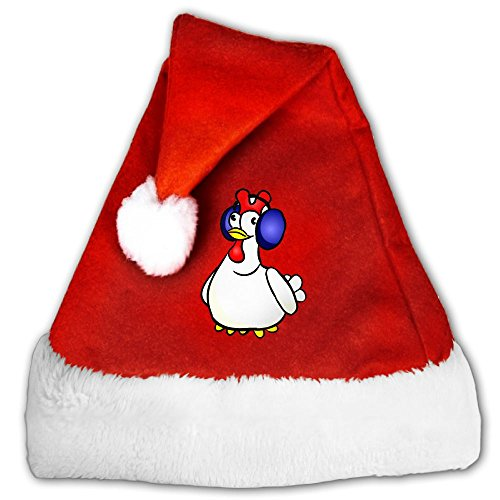 Dnieospla Hay Day Chicken Game Print Traditional Red And White Plush Christmas Santa Hat For Christmas Party Celebration (Hay Day Decorations)