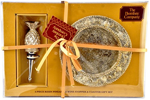 The Bombay Company 2-piece Resin Pineapple Wine Stopper & Coaster Gift Set, (Pineapple Resin)
