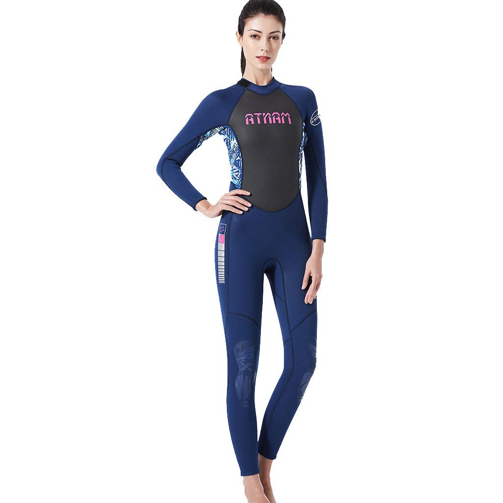 Onegirl Women's Keep Warm Wetsuit Long Sleeve Sunscreen Swimming Surfing and Snorkeling Diving Coverall Suit Blue