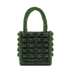 Pearls Acrylic Crystal Clear Beaded Tote Bag
