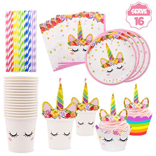 Cupcake Party Plates (Yaaaaasss! Serves 16 Unicorn Party Tableware Set Plates Cups Napkins Straws Cupcake Toppers Wrappers for Unicorn Themed Birthday Party,)