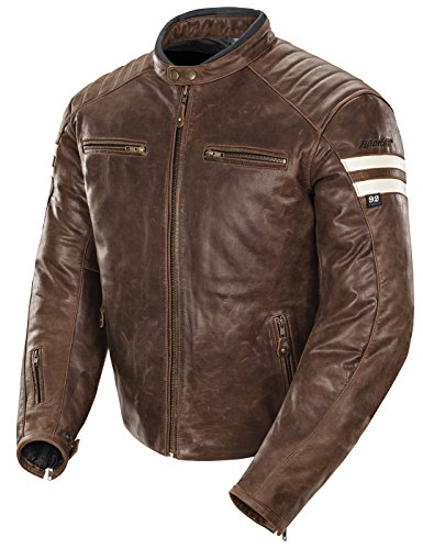 (Joe Rocket 1326-2302 Classic '92 Men's Leather Motorcycle Jacket (Brown/Cream, Small))