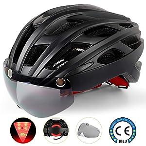 Casco Bici con Luce di LED,Certificato CE, Casco con Visiera Magnetica Staccabile Shield Casco da Bici Super Leggero Casco integralmente Adulto da Bicicletta Skateboarding Sci & Snowboard NR-096 1 spesavip