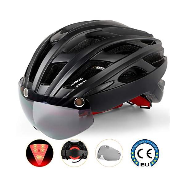 Shinmax Casco Bici con Luce di LED,Certificato CE, Casco con Visiera Magnetica Staccabile Shield Casco da Bici Leggero… 1 spesavip