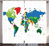 Ambesonne Globe Decor Collection, Map of World With Countries Borders Journeys Voyager Novelty Style, Window Treatments, Living Girls Boys Room Curtain 2 Panels Set, 108 X 90 Inches, Blue Red Green Picture