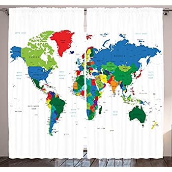 globe decor curtains by ambesonne map of world with countries borders journeys voyager novelty style