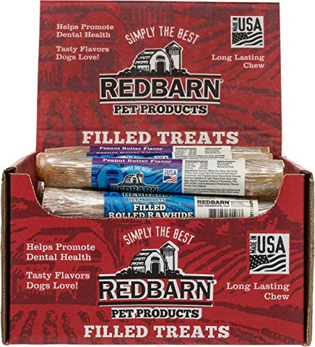 Filled Rolled Rawhide Dog Treat - Redbarn Filled Rolled Rawhide, 6 Inch, Peanut Butter Flavor Premium Dog Chew, 24 Count
