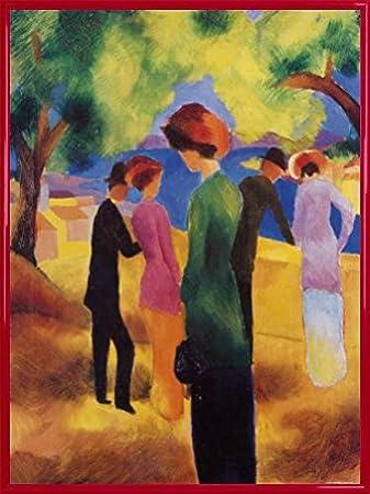 August Macke Poster Kunstdruck und Kunststoff Rahmen Dame