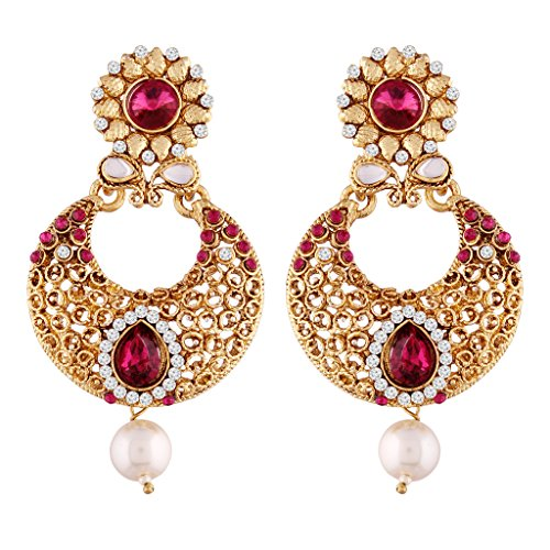 I Jewels Gold Plated Traditional Chandbali Earrings For Women E2352Q (Pink)